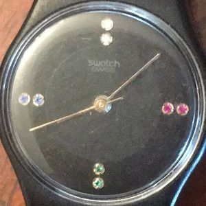 Vintage Swatch watch Rare color jewels face works